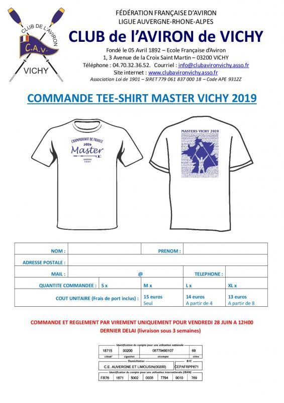 Commande tee shirt master cav 2019