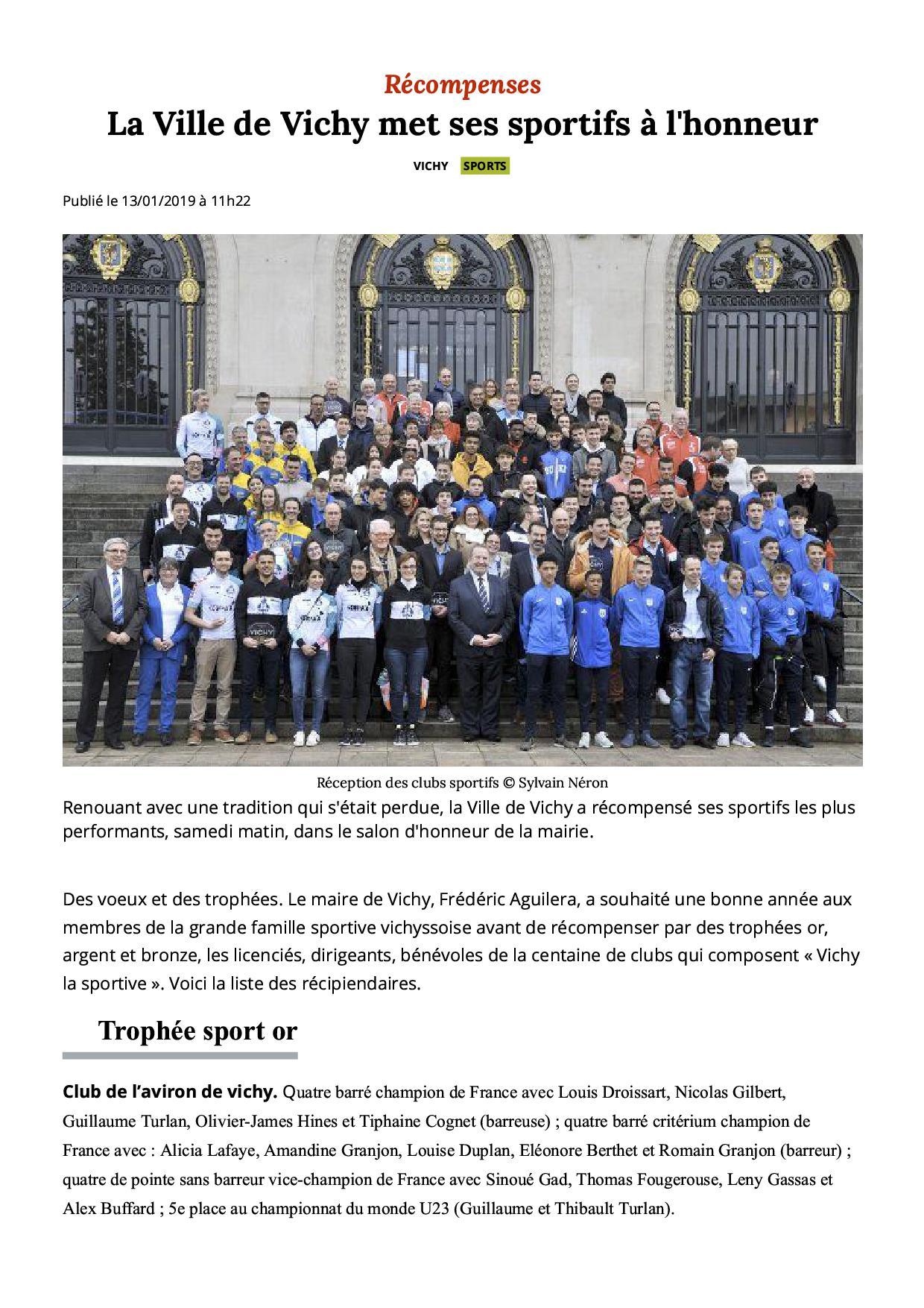 La ville de vichy met ses sportifs a l honneur vichy 03200 la montagne 3