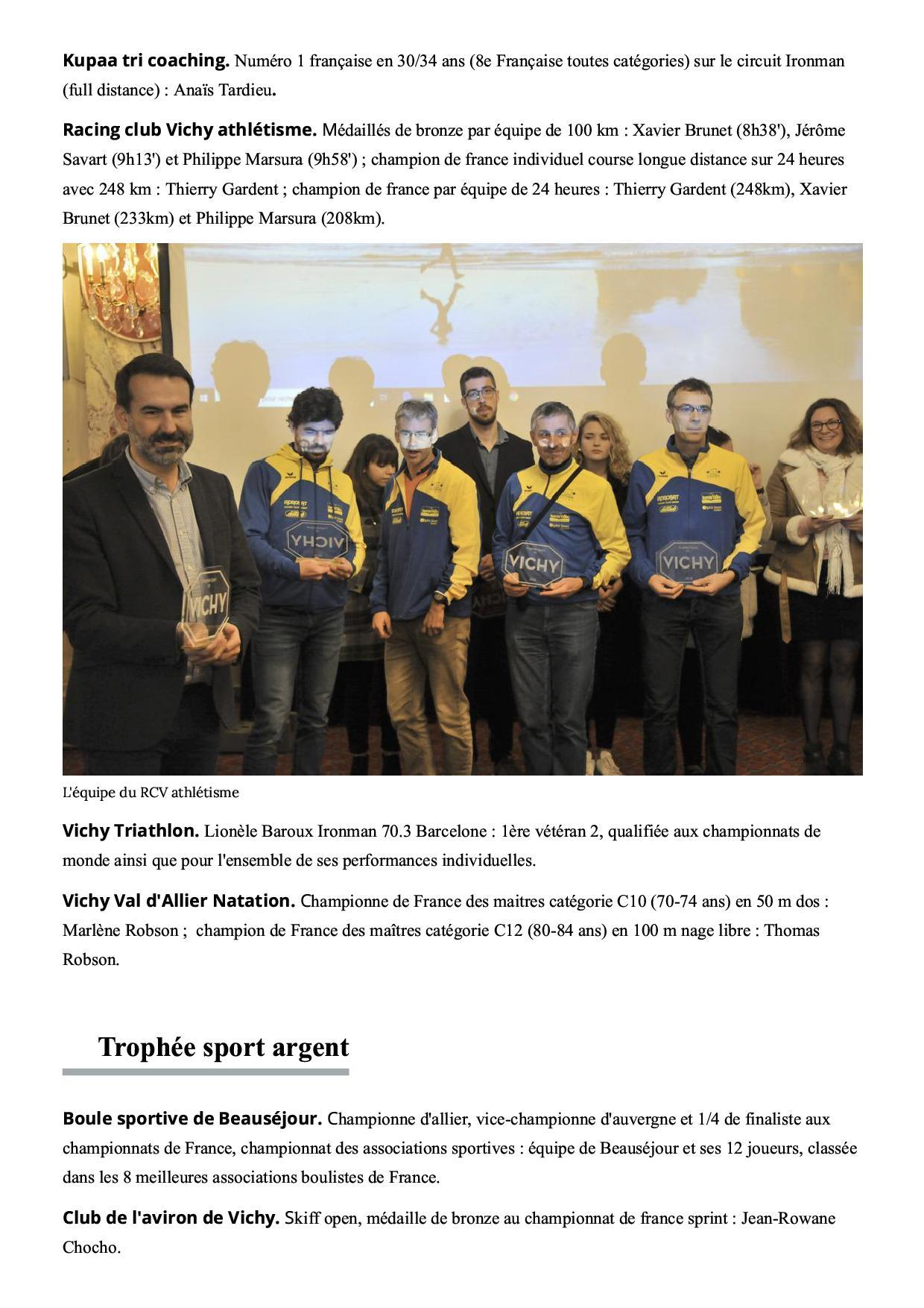 La ville de vichy met ses sportifs a l honneur vichy 03200 la montagne2 3