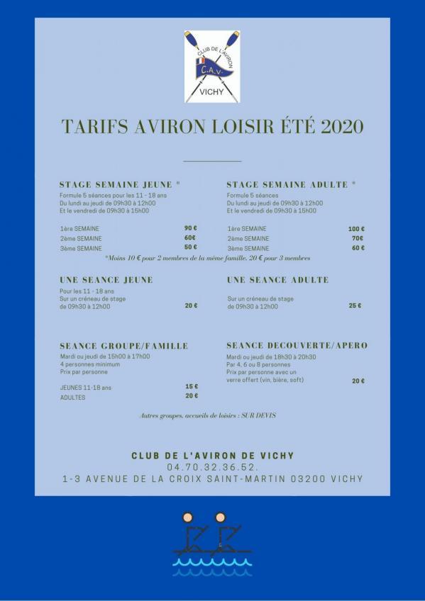 Tarifs cav ete 2020